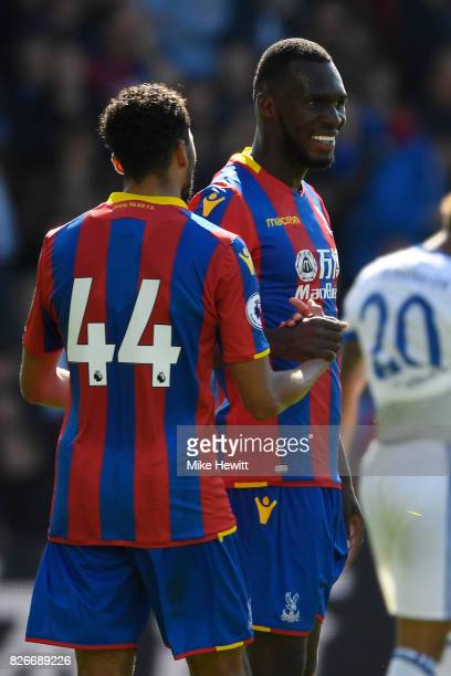 Christian Benteke of Crystal Palace celebrates with Jairo Reidewald after equalising during a Pre Season Friendly between Crystal Palace and FC...