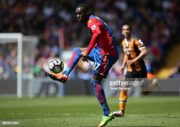 Christian Benteke of Crystal Palace controls the ball during the Premier League match between Crystal Palace and Hull City at Selhurst Park on May 14...