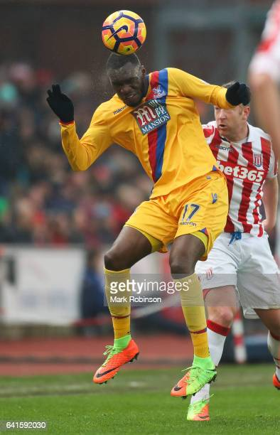 Christian Benteke of Crystal Palace during the Premier League match between Stoke City and Crystal Palace at Bet365 Stadium on February 11 2017 in...