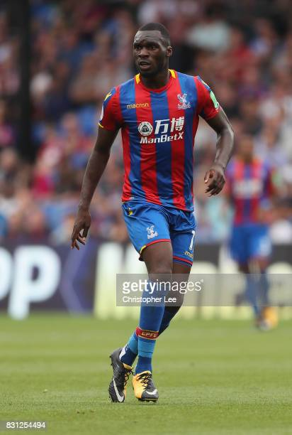 Christian Benteke of Crystal Palace in action during the Premier League match between Crystal Palace and Huddersfield Town at Selhurst Park on August...