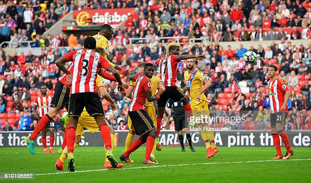 Christian Benteke of Crystal Palace scores his sides third goal during the Premier League match between Sunderland and Crystal Palace at the Stadium...