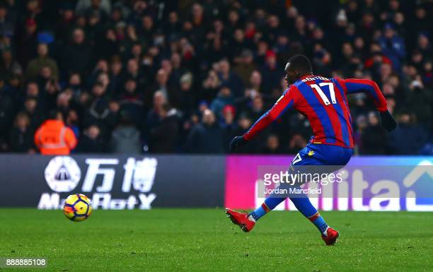 Christian Benteke of Crystal Palace takes a penalty and misses during the Premier League match between Crystal Palace and AFC Bournemouth at Selhurst...