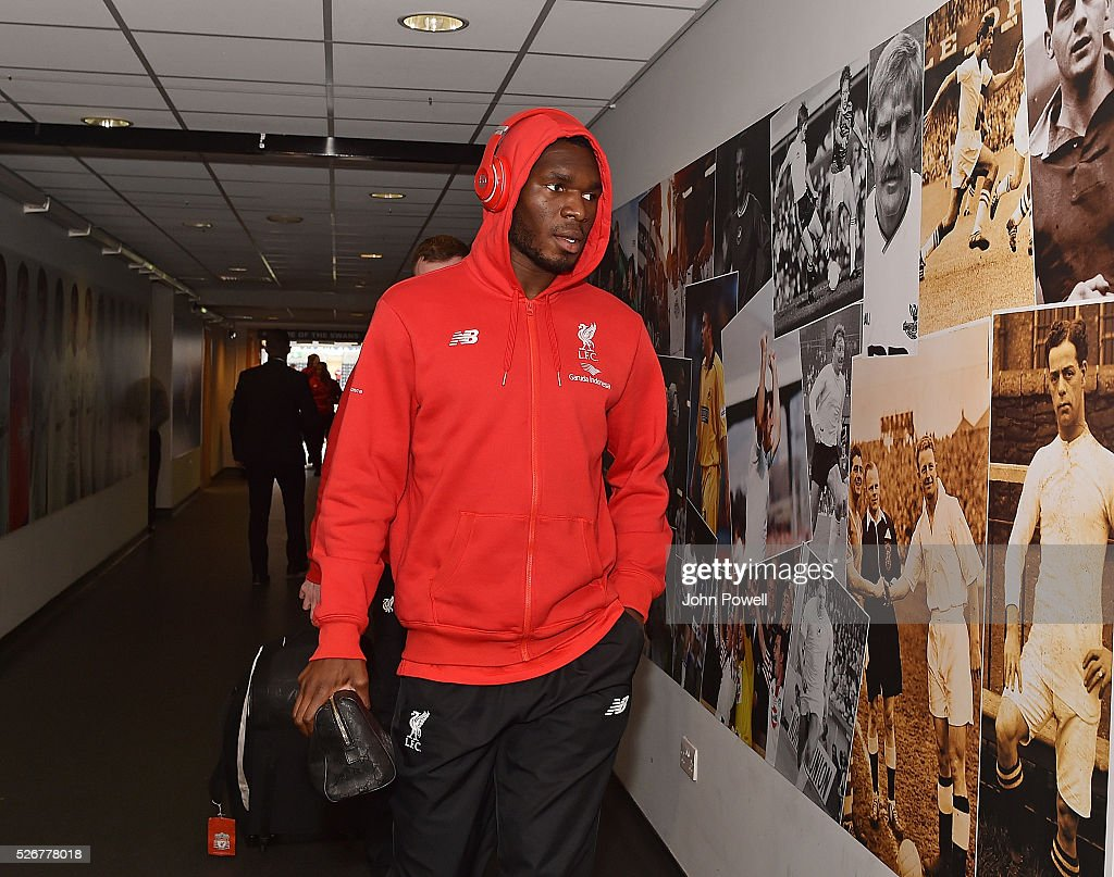 Christian Benteke of Liverpool arrives before a Premier League match between Swansea City and Liverpool at the Liberty Stadium on May 01, 2016 in Swansea, Wales.