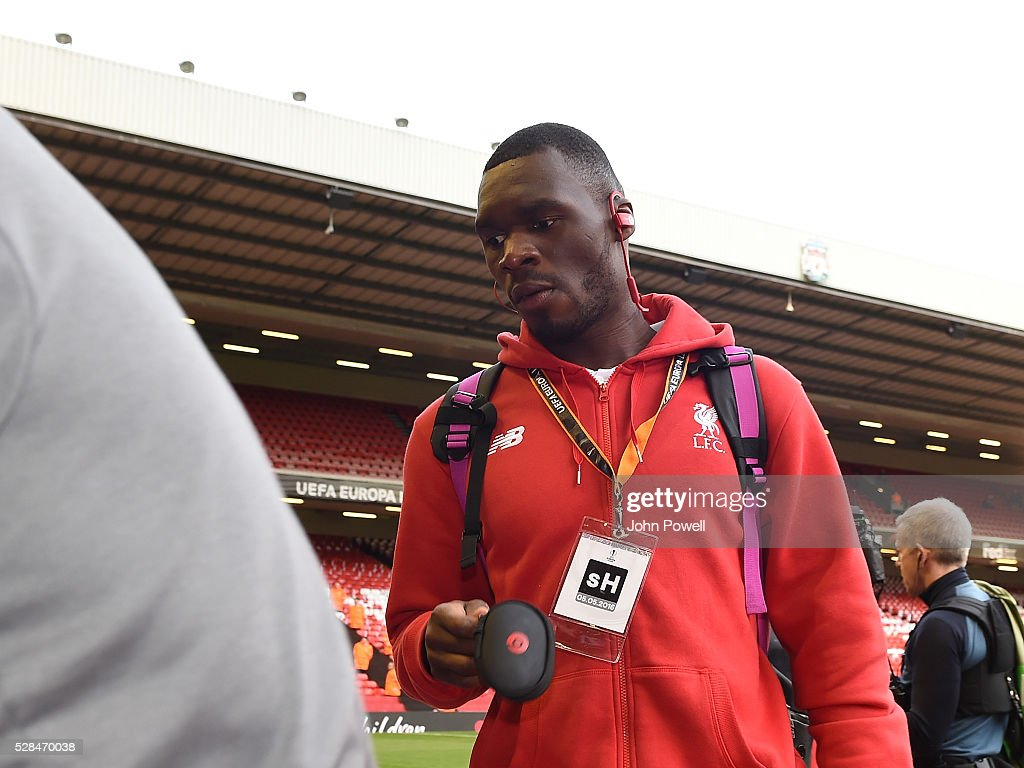 <a gi-track='captionPersonalityLinkClicked' href=/galleries/search?phrase=Christian+Benteke&family=editorial&specificpeople=4282509 ng-click='$event.stopPropagation()'>Christian Benteke</a> of Liverpool arrives before the UEFA Europa League Semi Final: Second Leg match between Liverpool and Villarreal CF at Anfield on May 05, 2016 in Liverpool, England.