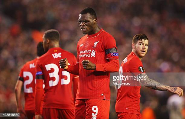 Christian Benteke of Liverpool celebrates as he scores their second goal during the UEFA Europa League Group B match between Liverpool FC and FC...