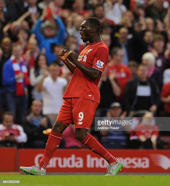 Christian Benteke of Liverpool celebrates his goal during the Barclays Premier League match between Liverpool and AFC Bournemouth on August 17 2015...
