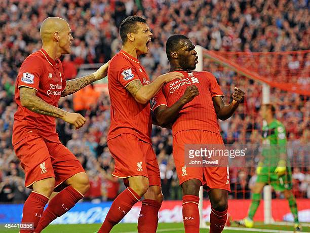 Christian Benteke of Liverpool celebrates his goal with his team mates Martin Skrtel and Dejan Lovren during the Barclays Premier League match...
