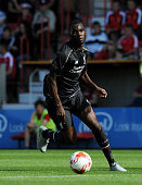 Christian Benteke of Liverpool in action during a preseason friendly at County Ground on August 2 2015 in Swindon England
