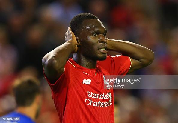 Christian Benteke of Liverpool reacts after a missed chance during the Barclays Premier League match between Liverpool and AFC Bournemouth at Anfield...