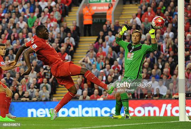 Christian Benteke of Liverpool scores the first goal during the Barclays Premier League match between Liverpool and AFC Bournemouth on August 17 2015...