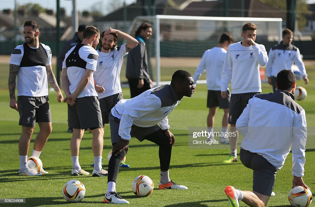 <a gi-track='captionPersonalityLinkClicked' href=/galleries/search?phrase=Christian+Benteke&family=editorial&specificpeople=4282509 ng-click='$event.stopPropagation()'>Christian Benteke</a> of Liverpool stretches during a training session ahead of the UEFA Europa League Semi-Final Second Leg match against Villarreal at Melwood Training Ground on May 4, 2016 in Liverpool, England.
