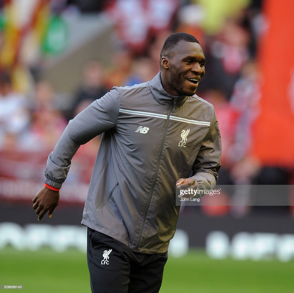 Christian Benteke of Liverpool warms up before the UEFA Europa League Semi Final: Second Leg match between Liverpool and Villarreal CF at Anfield on May 05, 2016 in Liverpool, England.