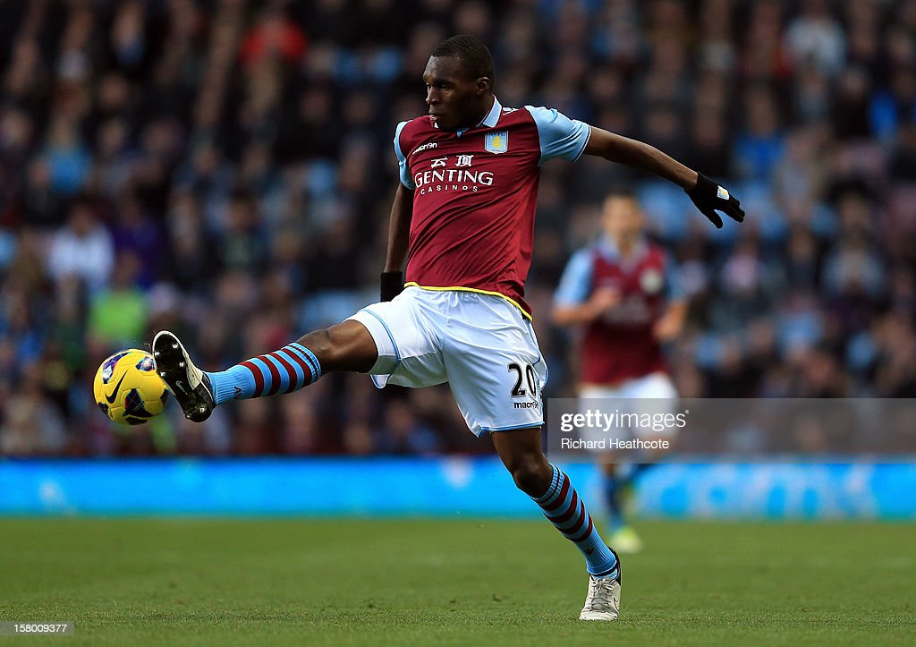 <a gi-track='captionPersonalityLinkClicked' href=/galleries/search?phrase=Christian+Benteke&family=editorial&specificpeople=4282509 ng-click='$event.stopPropagation()'>Christian Benteke</a> of Villa in action during the Barclays Premier League match between Aston Villa and Stoke City at Villa Park on December 8, 2012 in Birmingham, England.