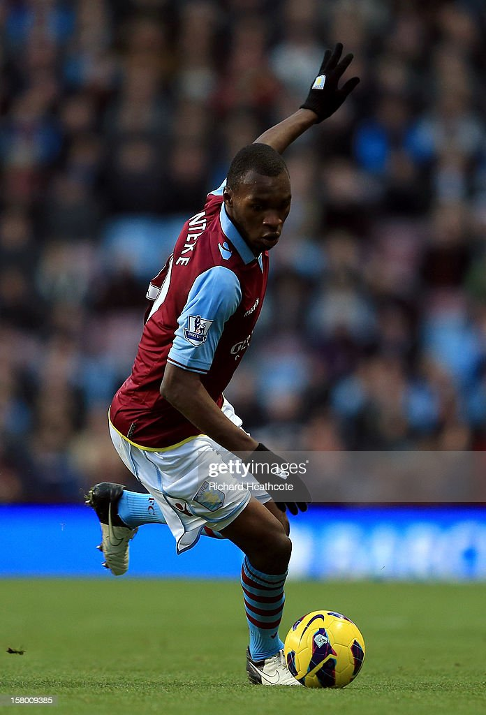 Christian Benteke of Villa in action during the Barclays Premier League match between Aston Villa and Stoke City at Villa Park on December 8, 2012 in Birmingham, England.