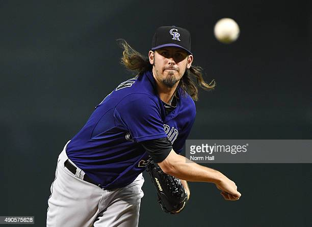 Christian Bergman of the Colorado Rockies throws a warm up pitch during the first inning against the Arizona Diamondbacks at Chase Field on September...