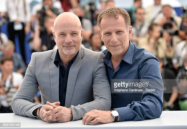 Christian Berkel and Charles Berling attend the 'Elle' Photocall during the 69th annual Cannes Film Festival at the Palais des Festivals on May 21...