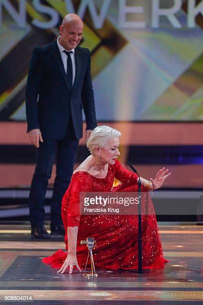 Christian Berkel and Helen Mirren attend the Goldene Kamera 2016 show on February 6 2016 in Hamburg Germany