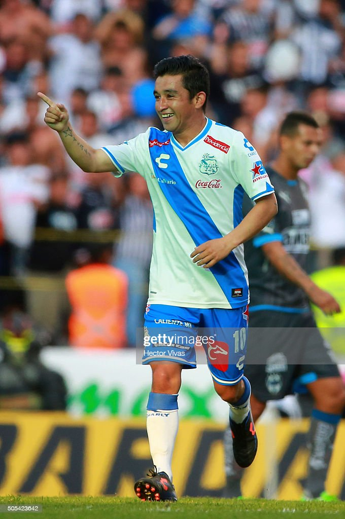 Christian Bermudez of Puebla celebrates after scoring the first goal of his team during the 2nd round match between Puebla and Monterrey as part of...