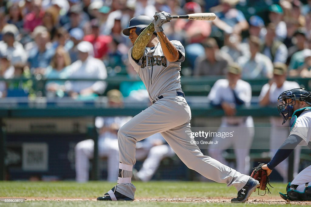 Christian Bethancourt #12 of the San Diego Padres hits an RBI single in the second inning against the Seattle Mariners at Safeco Field on May 30, 2016 in Seattle, Washington.