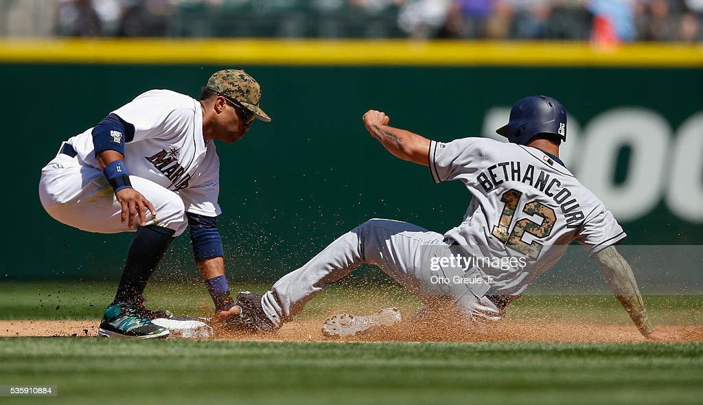 Christian Bethancourt #12 of the San Diego Padres is tagged out on a steal attempt by second baseman <a gi-track='captionPersonalityLinkClicked' href=/galleries/search?phrase=Robinson+Cano&family=editorial&specificpeople=538362 ng-click='$event.stopPropagation()'>Robinson Cano</a> #22 of the Seattle Mariners in the fourth inning at Safeco Field on May 30, 2016 in Seattle, Washington.