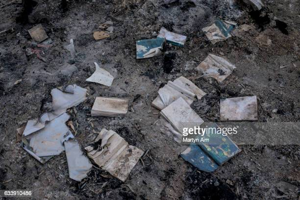 Christian bibles ancient manuscripts and books burnt by Islamic State militants in the Mar Behnam monastery on February 4 2017 in Beth Khdeda Nineveh...