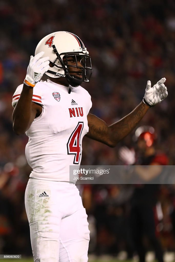 Christian Blake #4 of the Northern Illinois Huskies reacts to a call on the field in the second quarter during the Northern Illinois v San Diego State game at Qualcomm Stadium on September 30, 2017 in San Diego, California.