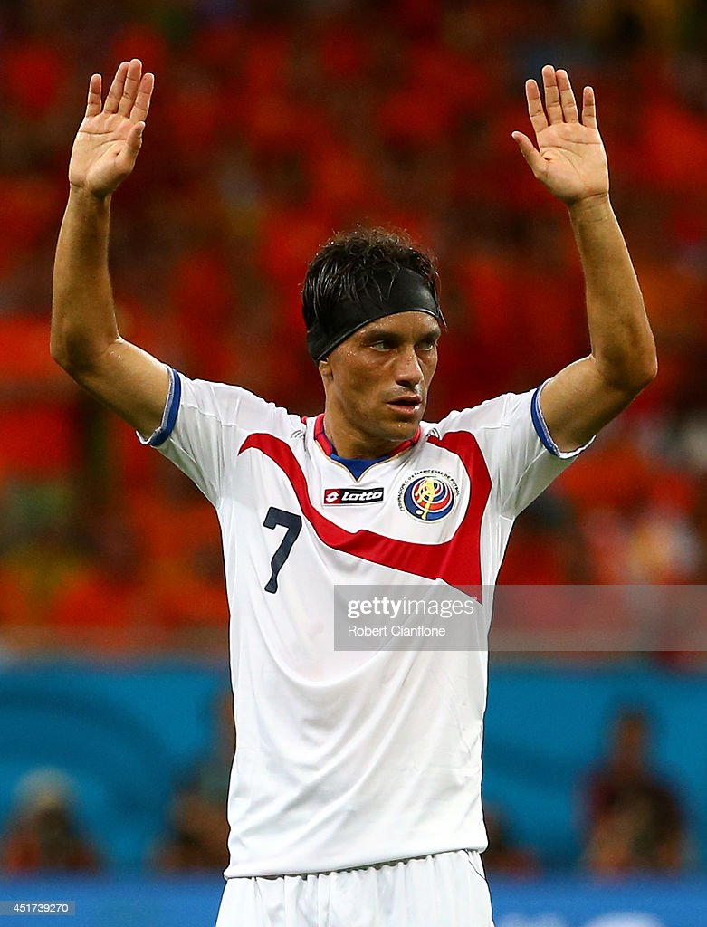 <a gi-track='captionPersonalityLinkClicked' href=/galleries/search?phrase=Christian+Bolanos&family=editorial&specificpeople=554945 ng-click='$event.stopPropagation()'>Christian Bolanos</a> of Costa Rica reacts during the 2014 FIFA World Cup Brazil Quarter Final match between the Netherlands and Costa Rica at Arena Fonte Nova on July 5, 2014 in Salvador, Brazil.