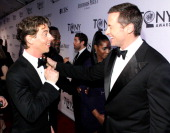 Christian Borle and Hugh Jackman attend the 66th Annual Tony Awards at The Beacon Theatre on June 10 2012 in New York City