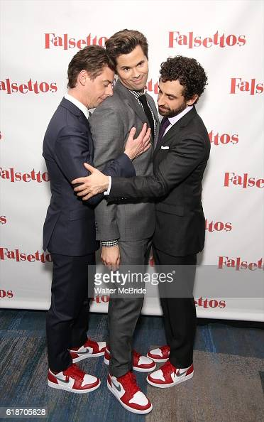 Christian Borle Andrews Rannells and Brandon Uranowitz attend the Opening Night After Party for 'Falsettos' at the New York Hilton Hotel on October...