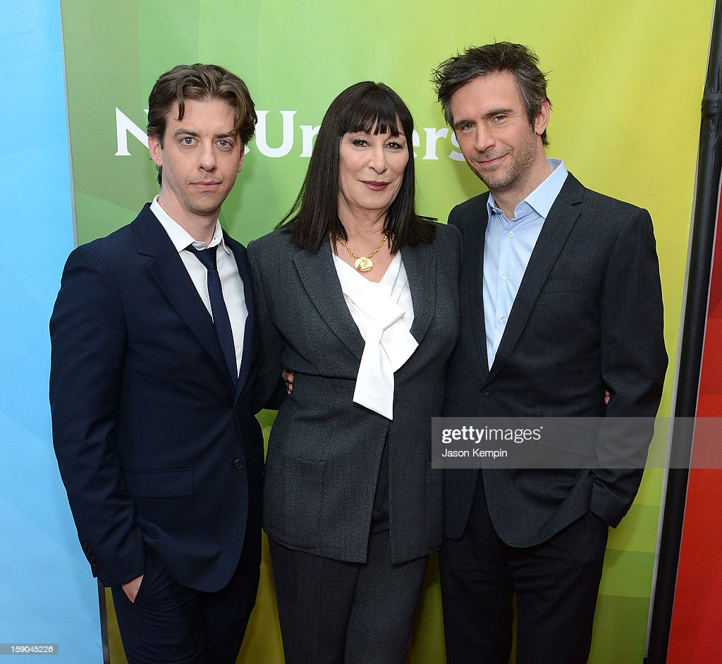 Christian Borle, Anjelica Huston and Jack Davenport attend NBCUniversal's '2013 Winter TCA Tour' Day 1 at Langham Hotel on January 6, 2013 in Pasadena, California.