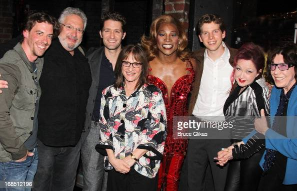 Christian Borle Harvey Fierstein Matthew Morrison Patti LuPone Billy Porter as 'Lola' Stark Sands as 'Charlie' Cyndi Lauper and Lily Tomlin pose...