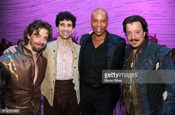 Christian Borle John Cariani RuPaul and Stacey Todd Holt pose backstage at the hit musical 'Something Rotten' on Broadway at The St James Theatre on...