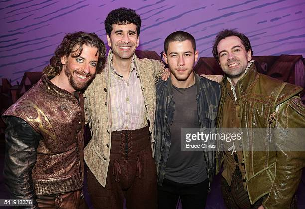 Christian Borle John Ciriani Nick Jonas and Rob McClure pose backstage at the hit musical 'Something Rotten' on Broadway at The StJames Theatre on...