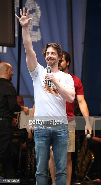 Christian Borle performs at United presents 'Stars in the Alley' in Shubert Alley on May 27 2015 in New York City