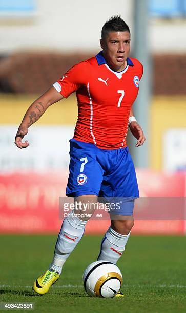 Christian Bravo of Chile in action during the Toulon Tournament Group A match between Portugal and Chile at the Stade Perruc on May 23 2014 in Hyeres...