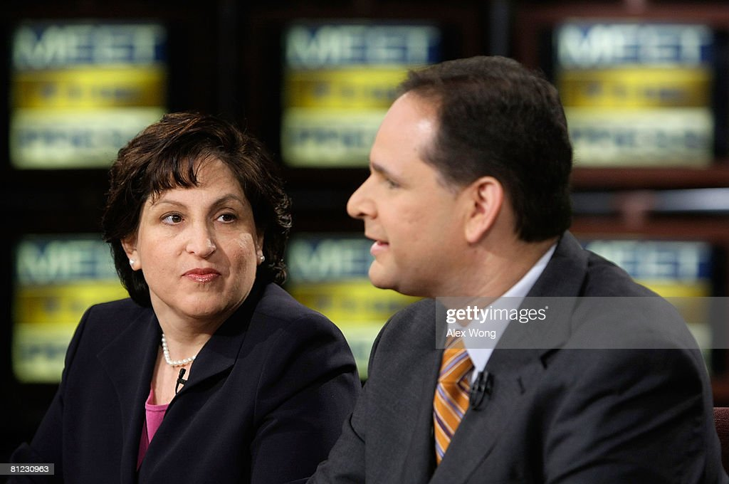 Christian Broadcasting Network Senior National Correspondent David Brody (R) speaks as Washington Post editorial writer and columnist Ruth Marcus (L) looks on during a taping of 'Meet the Press' at the NBC studios May 25, 2008 in Washington, DC. The guests discussed topics related to the presidential election in November, 2008.