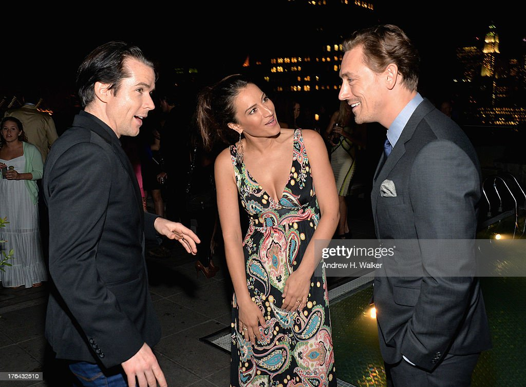 Christian Campbell, America Olivo, and J. J. Feild attend the after party for The Cinema Society with Alice and Olivia screening of Sony Pictures Classics' 'Austenland' at Jimmy At The James Hotel on August 12, 2013 in New York City.