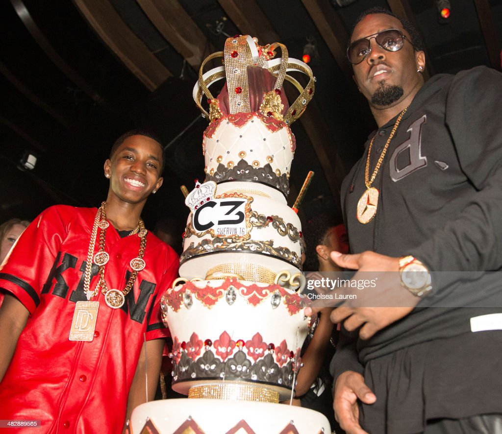 Christian Casey Combs (L) and entertainment mogul Sean 'Diddy' Combs attend Christian Casey Combs' 16th birthday party at 1OAK on April 4, 2014 in West Hollywood, California.