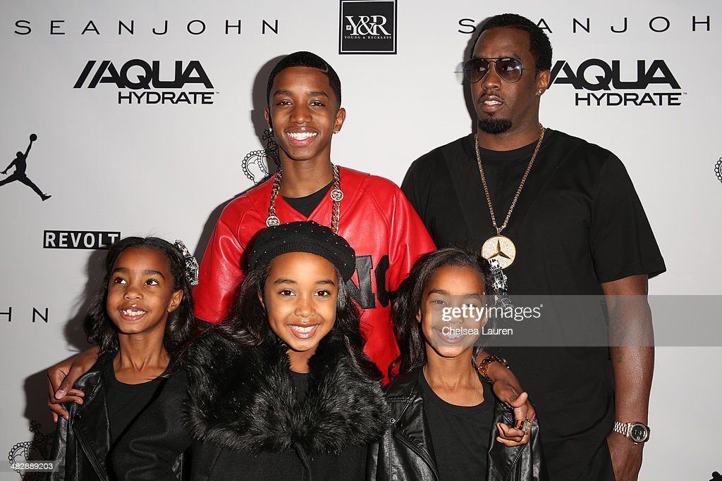 Christian Casey Combs (top left), entertainment mogul Sean 'Diddy' Combs (top right), and daughters D'Lila Star Combs, Chance Combs and Jessie James Combs arrive at Christian Casey Combs' 16th birthday party at 1OAK on April 4, 2014 in West Hollywood, California.