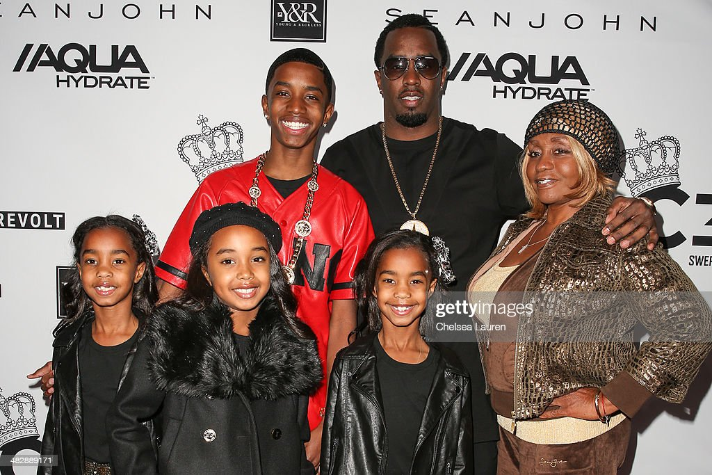 Christian Casey Combs, entertainment mogul Sean 'Diddy' Combs and Janice Combs, and D'Lila Star Combs, Chance Combs and Jessie James Combs arrive at Christian Casey Combs' 16th birthday party at 1OAK on April 4, 2014 in West Hollywood, California.