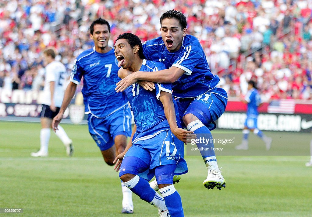 Christian Castillo of El Salvador celebrates his goal int he first half with teammate Rodolfo Zelaya during the FIFA 2010 World Cup Qualifier match...