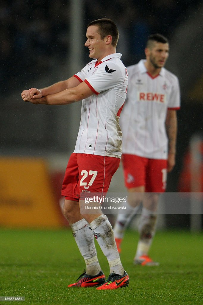 Christian Clemens of Cologne celebrates after the Second Bundesliga match between 1. FC Koeln and VfL Bochum at RheinEnergieStadion on November 23, 2012 in Cologne, Germany.