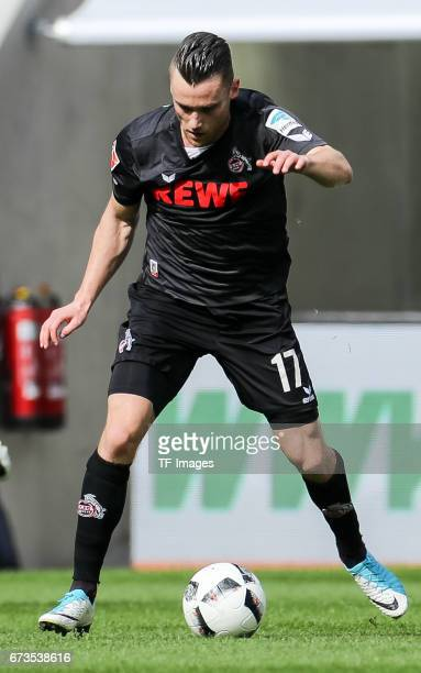 Christian Clemens of Colonge controls the ball during the Bundesliga match between FC Augsburg and 1 FC Koeln at WWK Arena on April 15 2017 in...