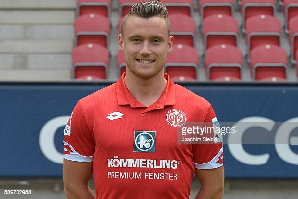 Christian Clemens poses during the official team presentation of 1 FSV Mainz 05 at Opel Arena on July 25 2016 in Mainz Germany