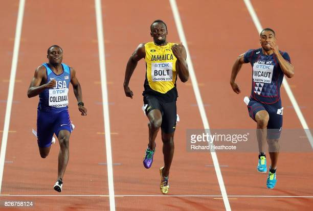 Christian Coleman of the United States Usain Bolt of Jamaica and Jimmy Vicaut of France compete in the men's 100m final during day two of the 16th...