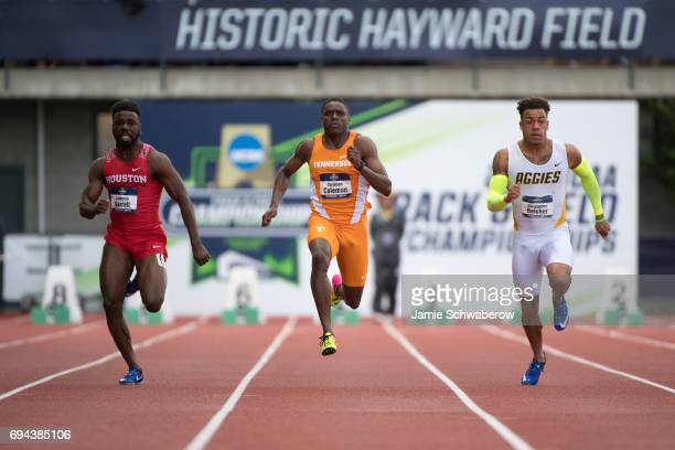 Christian Coleman of the University of Tennessee races to a first place finish in the 100 meter dash during the Division I Men's Outdoor Track Field...