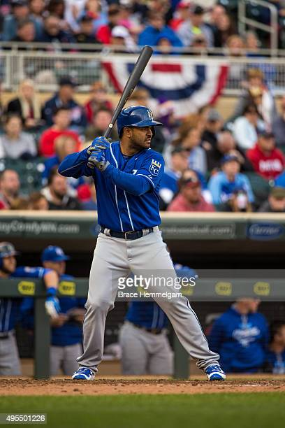 Christian Colon of the Kansas City Royals bats against the Minnesota Twins on October 4 2015 at Target Field in Minneapolis Minnesota The Royals...