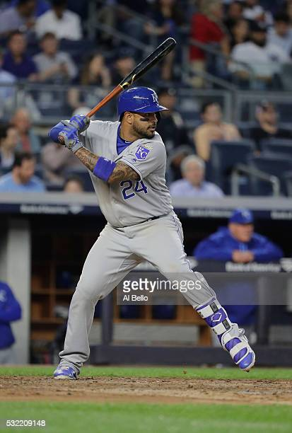 Christian Colon of the Kansas City Royals bats against the New York Yankees during their game at Yankee Stadium on May 12 2016 in New York City