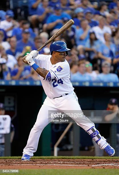 Christian Colon of the Kansas City Royals bats during the game against the Cleveland Indians at Kauffman Stadium on June 15 2016 in Kansas City...