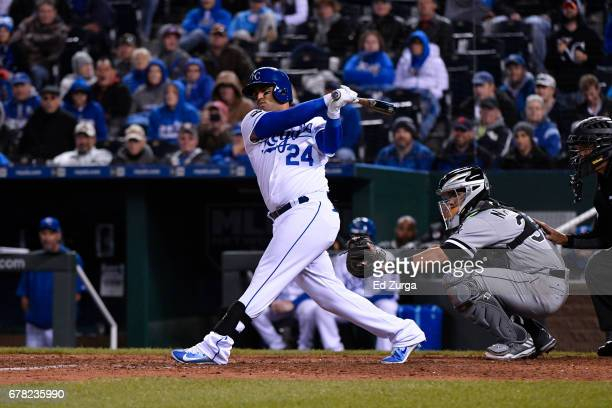Christian Colon of the Kansas City Royals hits against the Chicago White Sox at Kauffman Stadium on May 1 2017 in Kansas City Missouri